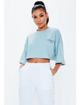 blue-original-slogan-drop-shoulder-crop-top by missguided