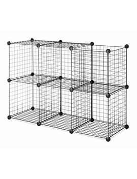 Whitmor Storage Cubes   Stackable Interlocking Wire Shelves   Black (Set Of 6) by Whitmor