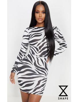 Shape White Zebra Print Slinky Cut Out Back Bodycon Dress by Prettylittlething