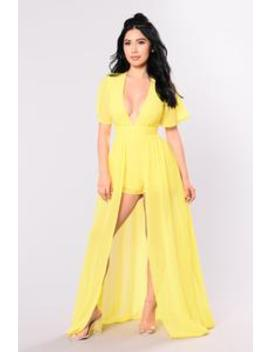 This Overlay Don't Play Dress   Yellow by Fashion Nova