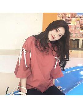 Ayibu   Bow Accent Elbow Sleeve T Shirt by Ayibu