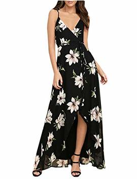 Blooming Jelly Women's Halter V Neck Backless Spaghetti Strap Flowy High Waist Split Floral Print Long Summer Maxi Dress by Blooming Jelly