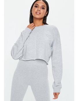 Sweat Court Gris Chiné Coutures Apparentes by Missguided