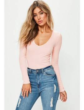 Body Rose Manches Longues Col En V by Missguided