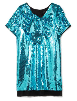 Satin Paneled Sequined Georgette Mini Dress by Marc Jacobs