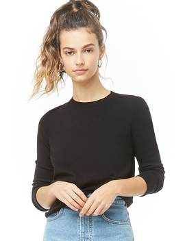 Ribbed Trim Knit Sweater by Forever 21