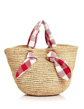 Hazel Checkered Tie Straw Tote by Loeffler Randall
