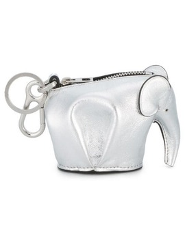 Metallic Silver Elephant Leather Bag Charm by Loewe