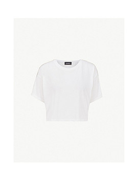 Cropped Embellished Sleeve Jersey T Shirt by The Kooples