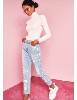 Jaclyn Denim Slogan Painted Distressed Jeans by Missy Empire
