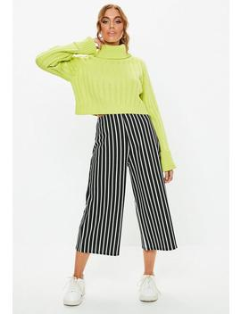 Black Mono Stripe Culotte Trousers by Missguided