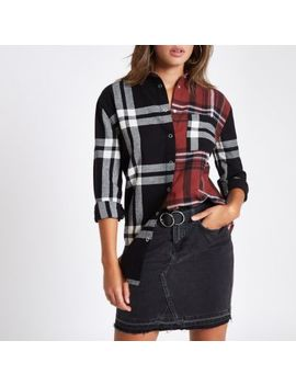 Red Check Contrast Long Sleeve Shirt by River Island