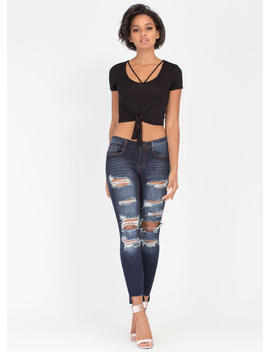 V Yourself Strappy Knotted Crop Top by Go Jane