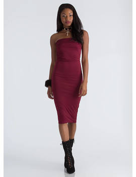 Ruching For The Stars Strapless Dress by Go Jane
