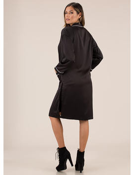 Robe In Wardrobe Satiny Piped Duster by Go Jane