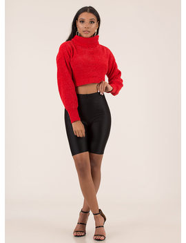 Hot And Cold Cropped Knit Sweater by Go Jane