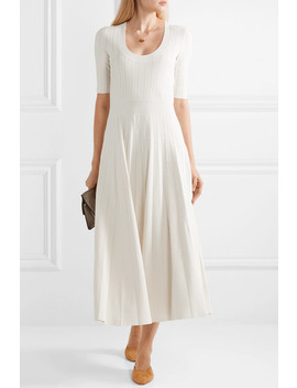 Pleated Stretch Knit Midi Dress by Casasola
