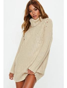 Nude Chunky Roll Neck Knitted Jumper Dress by Missguided