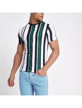 Groen Gestreept T Shirt Met Ronde Hals by River Island