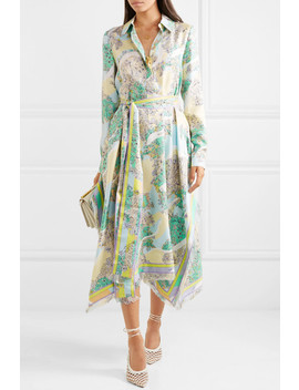 Fringed Printed Silk Twill Midi Dress by Emilio Pucci