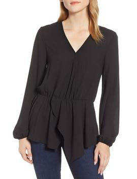Cross Front Peplum Blouse by 1.State