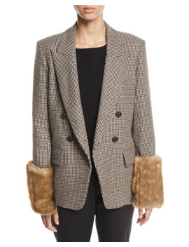 Fahey Houndstooth Dickey Jacket With Faux Fur Cuffs by Veronica Beard