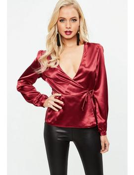 Wine Satin Tie Waist Plunge Blouse by Missguided