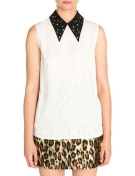 Crystal Embellished Point Collar Blouse by Miu Miu