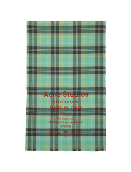 Grey & Blue Check Cassiar Scarf by Acne Studios