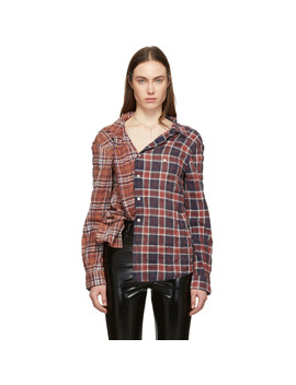Burgundy & Orange Plaid Off The Shoulder Shirt by R13