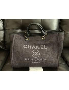 Auth New Chanel Classic Deauville Large Black Grey Shopper Tote Bag Cruise 2019 by Chanel