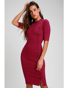 Dolan Berry Pink Ribbed Button Front Bodycon Midi Dress by Lulus