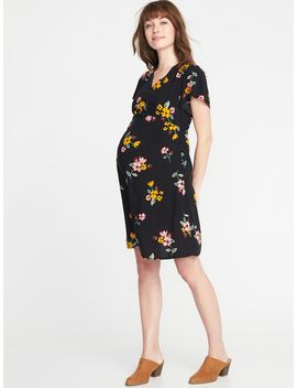 Maternity Waist Defined Flutter Sleeve Dress by Old Navy