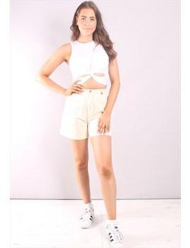 Vintage 90s Pale Yellow Pleat Front Culotte Shorts by Liz Claiborne