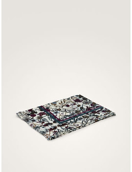 Floral Print 100 Percents Wool Scarf by Massimo Dutti