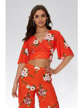 Orange And White Floral Crop Top by Quiz
