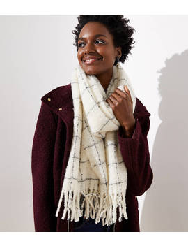 Plaid Bouclé Blanket Scarf by Loft