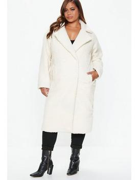Plus Size Cream Longline Teddy Coat by Missguided