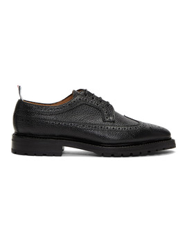 Black Double Welt Longwing Brogues by Thom Browne