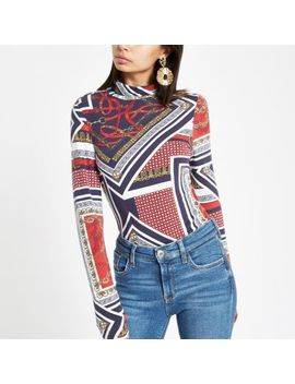 Red Jersey Scarf Print Roll Neck Jumper by River Island