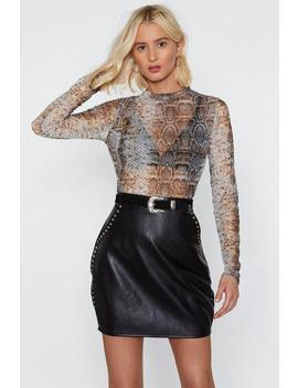 Turlte Neck Snakeskin Mesh Crop Top by Nasty Gal