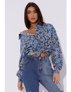 Sarah Ashcroft Blue Floral Oversized Shirt by In The Style