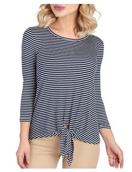 Striped Tie Hem Tee 						Striped Tie Hem Tee by Bobeau 						Bobeau