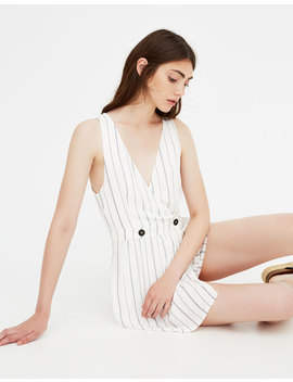 Striped Short Jumpsuit With Buttons by Pull & Bear