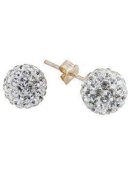 Revere 9ct Gold Crystal Glitter Ball Stud Earrings by Argos