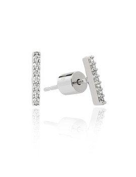 Hold On Small Bar Earrings In Silver by Astrid & Miyu