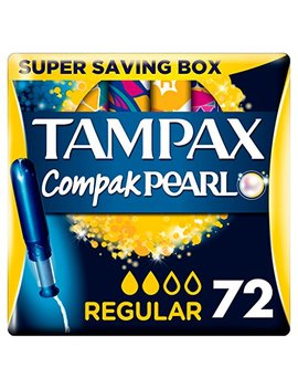 Tampax Pearl Compact Regular Applicator Active Fresh, Tampon For Comfort, Protection, Discretion, Super Saving Box, 18 Count (4 Pack) by Tampax