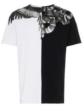 Twee Kleurig T  Shirt Met Vleugels En Slangen Print by Marcelo Burlon County Of Milan