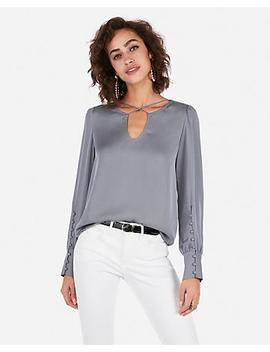 Cross Front Large Button Cuff Blouse by Express