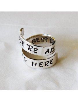 Alice Au Pays Des Merveilles Bijoux   Nous Sommes Tous Fous Ici   Le Meilleur Les Gens Sont Enrouler à La Main Estampillé Jewelry Ring Ring Citation | Alice Ring by Etsy